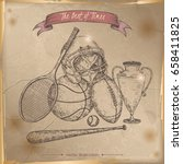 antique sport gear hand drawn... | Shutterstock .eps vector #658411825