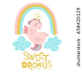 cute pink unicorn with rainbow... | Shutterstock .eps vector #658420129