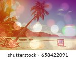 beach background  with coconut... | Shutterstock . vector #658422091