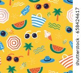 Stock vector colorful seamless summer pattern with hand drawn beach elements such as sunglasses palm 658424617