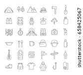 summer camping thin line icons. ... | Shutterstock .eps vector #658425067
