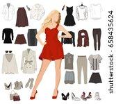 woman's wardrobe elements for... | Shutterstock .eps vector #658435624