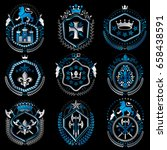 set of old style heraldry... | Shutterstock .eps vector #658438591