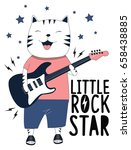 Stock vector little rock star cat illustration vector for print design 658438885