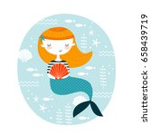 template with cute mermaid for... | Shutterstock .eps vector #658439719