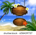 summer wooden sign on tropical... | Shutterstock .eps vector #658439737