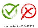 green brush symbolic ok and red ... | Shutterstock .eps vector #658442194