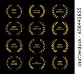 film awards. gold award wreaths ... | Shutterstock .eps vector #658443835
