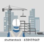 man on under construction site. ... | Shutterstock .eps vector #658459669