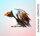 bright painted old sitting eagle | Shutterstock . vector #658465531
