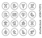 set round line icons of robotic ... | Shutterstock .eps vector #658474591