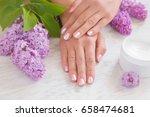 hands moisturizing cream cares... | Shutterstock . vector #658474681