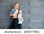 fitness mother with her 9 years ... | Shutterstock . vector #658477801