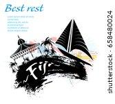 travel fiji grunge style design ... | Shutterstock .eps vector #658480024