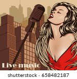 vintage poster with cityscape ... | Shutterstock .eps vector #658482187