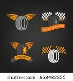 car tire icons set in dark grey ... | Shutterstock .eps vector #658482325