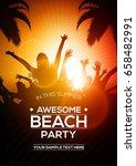 summer beach party flyer... | Shutterstock .eps vector #658482991