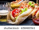 hotdogs close up. fast food.... | Shutterstock . vector #658483561
