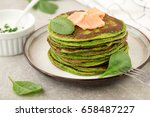 spinach ricotta pancakes with... | Shutterstock . vector #658487227