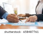 business hands pointing at... | Shutterstock . vector #658487761