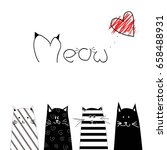 meow heart cats black and white ... | Shutterstock .eps vector #658488931