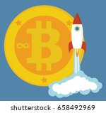 golden bitcoins icon with a... | Shutterstock .eps vector #658492969
