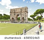 triumphal arch of constantine.... | Shutterstock .eps vector #658501465