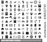 100 history icons set in simple ... | Shutterstock .eps vector #658522735