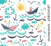 Stock vector seamless pattern in the concept of children s drawings seamless pattern with ships fish sun 658524187