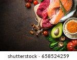 balanced diet food background....   Shutterstock . vector #658524259