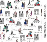 paris sightseeings and people.... | Shutterstock .eps vector #658527331