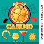 lucky casino roulette with bar ... | Shutterstock .eps vector #658528225