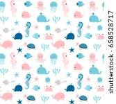 cute summer seamless pattern... | Shutterstock .eps vector #658528717