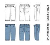 blank vector templates of men's ... | Shutterstock .eps vector #658534825