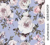 seamless pattern with flowers... | Shutterstock . vector #658540939