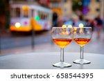 port wine glasses at outdoor... | Shutterstock . vector #658544395