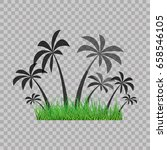 palm trees silhouette and green ... | Shutterstock .eps vector #658546105