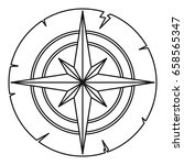 ancient compass icon in outline ... | Shutterstock . vector #658565347