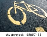 Pathway For Bicycle With Yellow ...