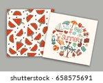 summer beach cute doodle hand... | Shutterstock .eps vector #658575691