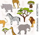 seamless pattern with african... | Shutterstock .eps vector #658575841