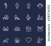 set of 16 people outline icons... | Shutterstock .eps vector #658576201