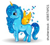 Blue Pony Unicorn With Golden...