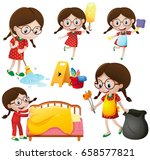 girl doing different chores... | Shutterstock .eps vector #658577821