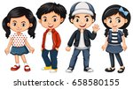 four asian kids with happy face ... | Shutterstock .eps vector #658580155