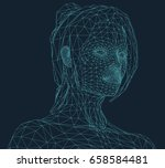 young woman in wire frame style | Shutterstock .eps vector #658584481