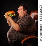 diet failure of fat man eating... | Shutterstock . vector #658616629
