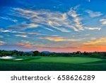 magnificent sunset on a golf... | Shutterstock . vector #658626289