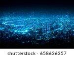 abstract digital signature over ... | Shutterstock . vector #658636357