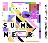 trendy vector holiday summer... | Shutterstock .eps vector #658638745